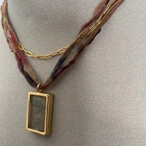 Artisan made silk and brass neck piece